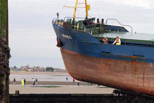 Dümeni kilitlenen yük gemisi duvara çıktı galerisi resim 6