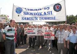 Samsun Limanı'nda eylem...
