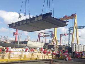 Milli uçak gemisi TCG ANADOLU'nun blok montaj işlemine başlandı
