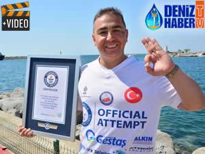 Cem Karabay, 'En Uzun Süre Soğuk Denizde Yaşama' rekorunu ikiye katladı