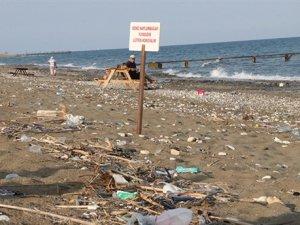 Sahile bırakılan çöpler, carettaları olumsuz etkiliyor