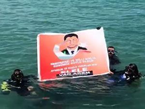 Van Gölü'nde Ömer Halisdemir'li pankart açıldı