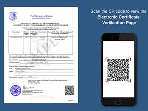 Liberya, sertifikalarda 'QR CODE' uygulamasına geçti