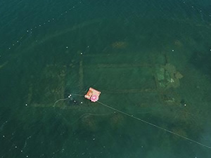 İznik Gölü'ndeki tarih havadan görüntülendi