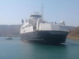 'M/F GOKCEADA 1' isimli feribot, Kuzu Limanı'nda karaya oturdu
