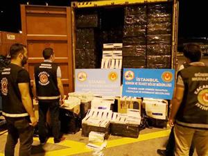 Ambarlı Limanı'nda bir gemiye kaçak sigara baskını yapıldı