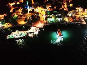 Kocaeli'de balıkçıların denize açılması havadan görüntülendi