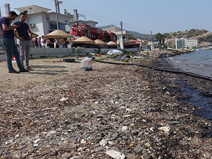 Foça'da 100 kişilik ekiple temizlik devam ediyor