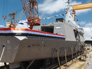 Mısır'da inşa edilen ilk savaş gemisi suya indirildi