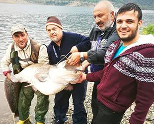Çorum'da oltayla 97 kiloluk balık yakaladılar