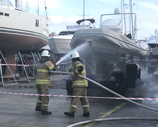 Çeşme Marina'da yangın tatbikatı gerçekleştirildi