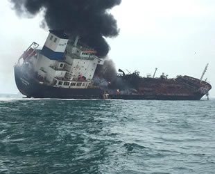 Hong Kong'da Aulac Fortune isimli petrol tankeri yandı: 1 ölü, 3 kişi kayıp