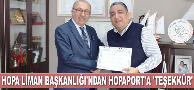HOPAPORT'a bir 'Teşekkür' de Hopa Liman Başkanlığı'ndan geldi