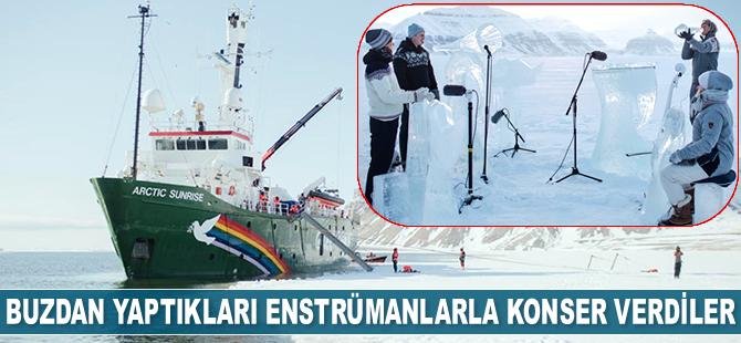 Kuzey Kutbu'nda buzdan enstrümanlarla konser verdiler