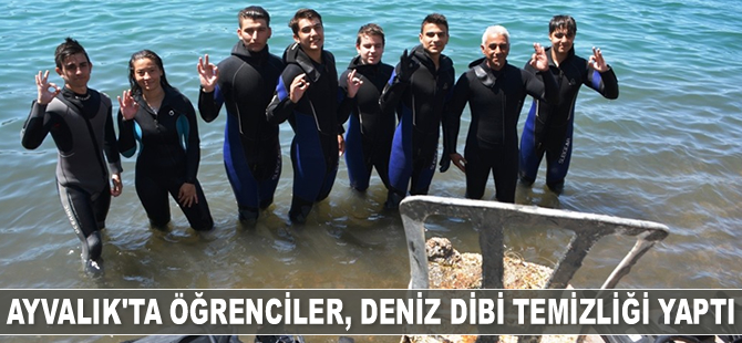 Ayvalık'ta öğrenciler, deniz dibi temizliği yaptı