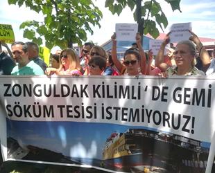 Kilimli'ye gemi söküm sahası yapma kararı protesto edildi