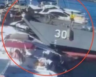 Girne'de çıkarma gemisi limandaki teknelere çarptı