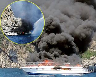 Marmaris'te yanarak batan yatın kirlettiği deniz temizlendi
