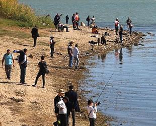 Büyükçekmece'de balıkçılar en büyük turna balığı için olta attı