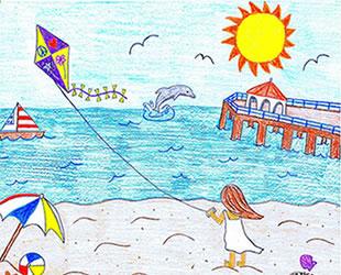 Çocuklar denizde eğlenceyi çizecek