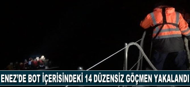 Enez'de bot içerisindeki 14 düzensiz göçmen yakalandı