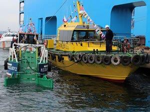 Yalova'nın ilk ve tek deniz süpürge gemisi denize indirildi