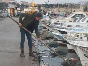 Sinop'ta kirlenen deniz yüzeyi temizlendi
