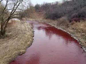 Kanada Mississauga''da  nehir kırmızı renk oldu