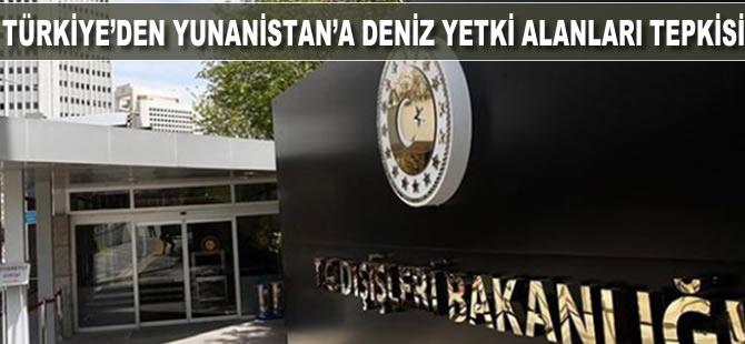 Türkiye'den Yunanistan'a 'deniz yetki alanları'' tepkisi