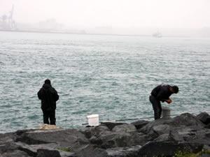 Yasağa uymayan vatandaşlar Fatih Sarayburnu Sahili'nde balık tutmaya devam ediyor