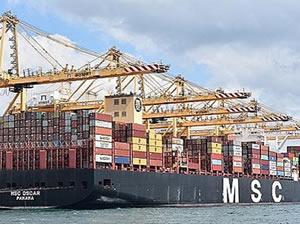 Dünyanın en büyük gemilerinden MSC OSCAR, Asyaport'ta