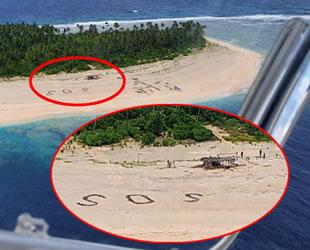 Kayıp denizciler, sahile yazdıkları 'SOS' yazısıyla kurtuldular