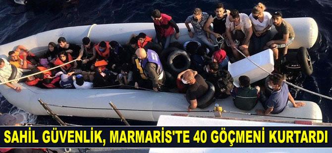 Sahil Güvenlik ekipleri, Marmaris'te 40 göçmeni kurtardı