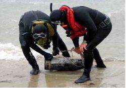 Denizde tarihi mermi teyakkuzu