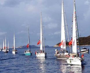 Meis Adası önünde Cumhuriyet coşkusu yaşandı