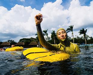 Serbest dalışçı Fatma Uruk, çift palet sabit ağırlıkta dünya rekoru kırdı