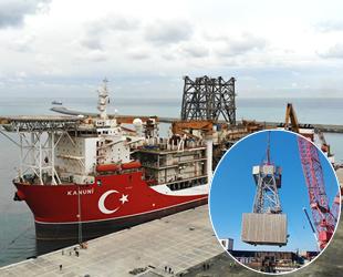 Kanuni sondaj gemisinin kuleleri Filyos Limanı'na tahliye edildi