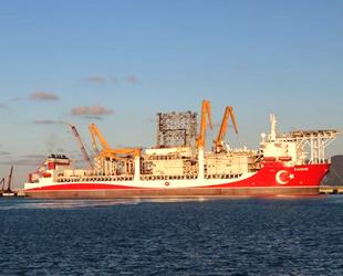 Kanuni sondaj gemisinin kule montajına başlandı