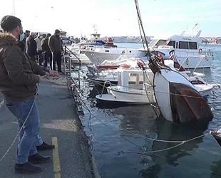 Silivri'de rüzgarın etkisiyle batan tekne kurtarıldı