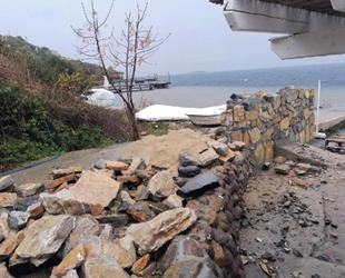 Hebil Koyu'nda örülen taş duvar mühürlendi