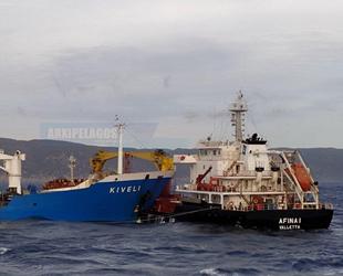 Yunanistan'da 'Kiveli' ve 'Afina I' isimli gemiler çatıştı