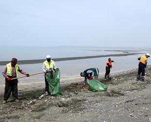 Van Gölü sahilinde temizlik çalışması yapıldı