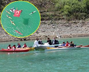 Artvin Borçka Baraj Gölü üzerinde kano gösterisi yapıldı