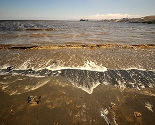 Balıkesir'de kirlilik sahillerin kumunu siyaha boyadı