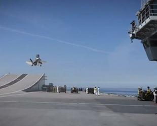 İngiliz uçak gemisinde F-35'lerle ilk deneme gerçekleştirildi