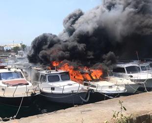 Kartal Dragos Marina'daki teknelerde yangın çıktı