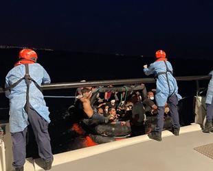 Didim açıklarında 57 düzensiz göçmen kurtarıldı