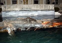 Yalının iskelesi büyük hasar gördü