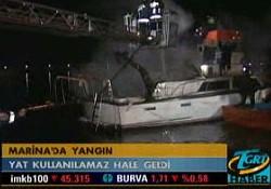 Yeşilköy Marina'da yat yangını