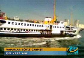 Boğaz'da 2 yolcu vapuru çarpıştı